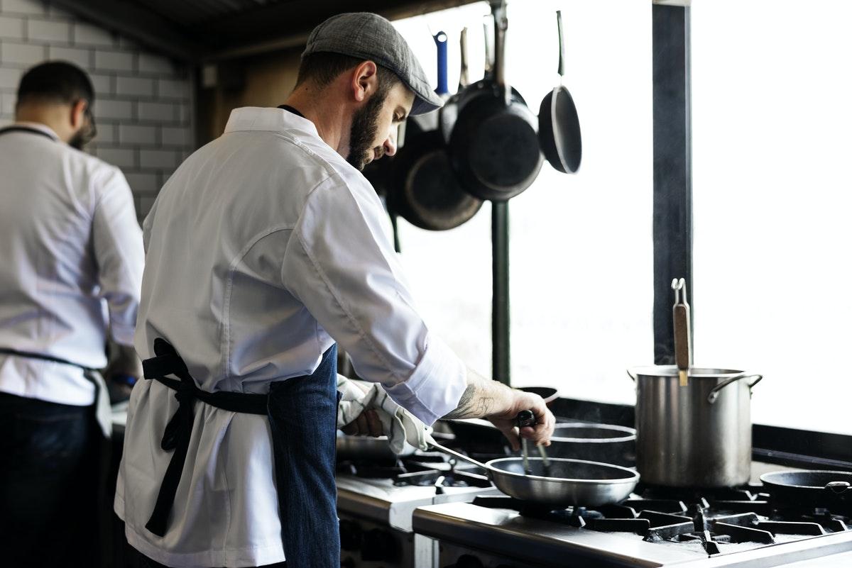 kitchen staff is working